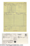 Autographs, Elvis Presley Original Flight Log