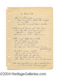 Autographs, Bruce Springsteen Rare Handwritten Lyrics