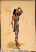 Autographs, Cleopatra Costume Sketch in Patterned Dress