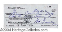 William Frawley (I Love Lucy) Signed Bank Check - Signed bank check, 6 x 2.75, May 14, 1960, drawn on Frawley's personal...