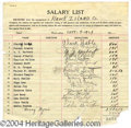 Autographs, Clark Gable Signed Salary List for first Acting Job!