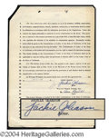 Autographs, Jackie Gleason Signed Document