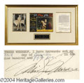 Autographs, Marilyn Monroe Signed Document for 7 Year Itch