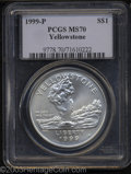 Modern Issues: , 1999-P Yellowstone Silver Dollar MS70 PCGS. ...