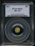 California Fractional Gold: , 1871 Liberty Octagonal 25 Cents, BG-765, R.3, MS62 PCGS. ...