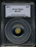 California Fractional Gold: , 1873 Liberty Round 25 Cents, BG-817, R.3, MS63 PCGS. ...