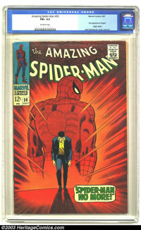 Amazing Spider-Man #50 (Marvel, 1967) CGC FN+ 6.5 Off-white pages. First appearance of the Kingpin. Origin retold. John...