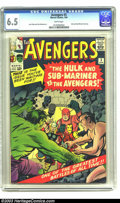 Silver Age (1956-1969):Superhero, The Avengers #3 (Marvel, 1964) CGC FN+ 6.5 White pages. Hulk and Sub-Mariner team-up. Jack Kirby and Paul Reinman art. Overs...