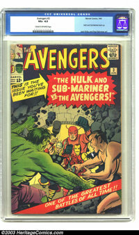The Avengers #3 (Marvel, 1964) CGC VG+ 4.5 Cream to off-white pages. Hulk and Sub-Mariner team-up. Spider-Man cameo. Jac...