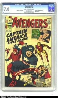 The Avengers #4 (Marvel, 1964) CGC FN/VF 7.0 Cream to off-white pages. First Silver Age appearance of Captain America. J...