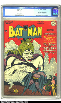 Batman #49 (DC, 1948) CGC VF- 7.5 Off-white pages. Joker cover and story. First appearance of Vicki Vale and the Mad-Hat...