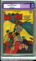 "Golden Age (1938-1955):Superhero, Batman #60 (DC, 1950) CGC Apparent FN/VF 7.0 Slight (A) Off-white pages. CGC notes, ""Restoration includes: tear seals to cov..."