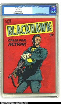Blackhawk #19 (Quality, 1948) CGC VF- 7.5 Cream to off-white pages. Reed Crandall cover and art. Dramatic cover! Overstr...