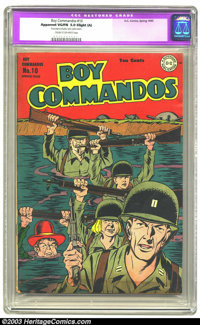 Boy Commandos #10 (DC, 1945) CGC Apparent VG/FN 5.0 Slight (A) Cream to off-white pages. Kirbyesque World War II cover m...