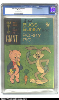 Bugs Bunny and Porky Pig #1 (Gold Key, 1965) CGC VF 8.0 Off-white to white pages. Newsprint paper cover. This is a giant...