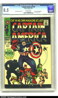 Captain America #100 (Marvel, 1968) CGC VF+ 8.5 Off-white pages. First issue, story continued from Tales of Suspense #99...