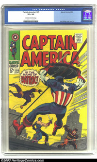 Captain America #105 (Marvel, 1968) CGC VF+ 8.5 Off-white to white pages. Versus Batroc, the Swordsman, and the Living L...