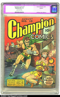Champion Comics #10 (Harvey, 1940) CGC Apparent VG 4.0 Slightly brittle pages. Simon and Kirby bondage cover. Henry Kief...