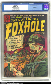 "Foxhole #1 (Mainline, 1954) CGC VG/FN 5.0 Off-white to white pages. Classic war cover by Jack Kirby. CGC notes, ""Sm..."