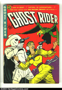 """Ghost Rider #9 (Magazine Enterprises, 1952) Condition: FN/VF. """"Good girl"""" art alert! Check out the headlights..."""