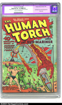 The Human Torch 5 (#4) (Timely, 1941) CGC VG- 3.5 Slight (P) Light tan to off-white pages. First Nazi war cover in this...