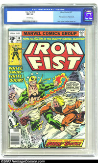 Iron Fist #14 (Marvel, 1977) CGC NM 9.4 Off-white pages. First appearance of Sabretooth. John Byrne and Dan Green art. A...