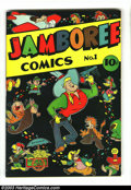 "Golden Age (1938-1955):Funny Animal, Jamboree Comics #1 (Round, 1946) Condition: FN/VF. Funny animalstories. Has 3/4"" tear at bottom of the spine. Glossy, looks..."