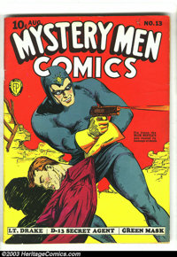 Mystery Men Comics #13 (Fox, 1940) Condition: PR. Cool Blue Beetle cover. Introduction of the Lynx and sidekick Blackie...
