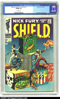 Nick Fury, Agent of SHIELD #1 (Marvel, 1968) CGC VF/NM 9.0 Off-white pages. Jim Steranko cover and art. Overstreet 2003...