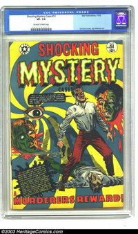 Shocking Mystery Cases #51 (Star Publications, 1952) CGC VF- 7.5 Off-white to white pages. L. B. Cole cover. Similar cov...