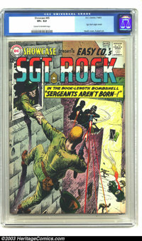 Showcase #45 Sgt. Rock (DC, 1963) CGC VF+ 8.5 Cream to off-white pages. Sgt. Rock's origin is retold. Russ Heath cover...