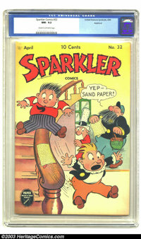 Sparkler Comics #32 Rockford pedigree (United Features Syndicate, 1944) CGC NM- 9.2 Cream to off-white pages. Captain an...