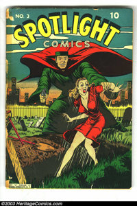 Spotlight Comics #3 (Chesler, 1945) Condition: FR. Injury to eye story reprinted from Scoop #3. No back cover, spine is...