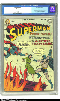 Superman #76 (DC, 1952) CGC FN 6.0 White pages. Batman crossover. Superman and Batman learn each other's secret identiti...