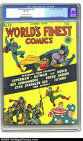 Golden Age (1938-1955):Superhero, World's Finest Comics #10 (DC, 1943) CGC VG- 3.5 Cream to off-white pages. Simon and Kirby art. Overstreet 2003 VG 4.0 value...