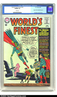 World's Finest Comics #142 (DC, 1964) CGC VF/NM 9.0 White pages. Origin of the Composite Superman. This villain is an am...