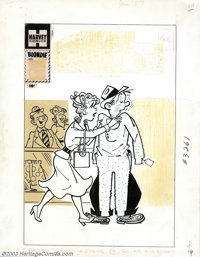 Al Avison (attributed) - Original Cover Art for Blondie (Harvey, 1959). Dagwood is sweating with embarrassment as Blondi...
