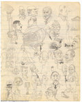 Original Comic Art:Sketches, Robert Crumb - Original Sketches, Faces (undated, early '60s). This two-sided sketchbook page is literally filled with doodl...