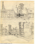 Original Comic Art:Sketches, Robert Crumb - Original Sketches, Architecture (undated, 1962?). This two-sided sketchbook page features some very detailed ...