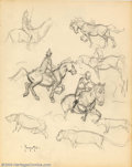 Original Comic Art:Sketches, Frank Frazetta - Original Sketches, Horses and Riders (undated). This outstanding sketchbook page show's Frazetta's superb c...