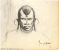 Original Comic Art:Sketches, Frank Frazetta - Original Sketch, Study for Masai Warrior (1959/1960). A beautiful study for the painting Masai Warrior,...