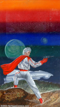 """Kevin Eugene Johnson - Original Painting """"Colors of Space"""" (1983). A silver-and-red clad warrior stands defend..."""