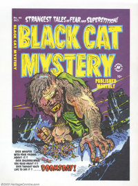 Cover Proof/Color Separations for Black Cat Mystery #40, Artwork by Rudy Palais (Harvey, 1952). A giant, slavering monst...