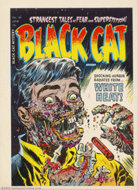 Cover Proof/Color Separations for Black Cat Mystery #50, Artwork by Lee Elias (Harvey, 1953). We're not sure why anyone...