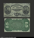 Fractional Currency:Third Issue, Narrow Margin Pair Third Issue 15c, Fr-1272SP, XF-AU. This ... (2 notes)