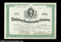 Stocks and Bonds:Certificates with Significant Autographs, Horatio Hathaway - Hathaway Manufacturing Company (...