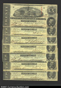 Confederate Notes:1863 Issues, 1863 $10 State Capitol at Columbia, SC; R.M.T. Hunter, T-59, ... (8 notes)