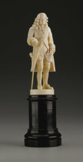 Decorative Arts, Continental:Other , A European Carved Ivory Figure. Unknown maker, possibly Dieppe, France. Nineteenth Century. Ivory and ebonized wood. Unmar...