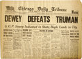 Books:Periodicals, Bryon H. Rollins Archive consisting of three remarkable andhistoric items: . Chicago Daily Tribune with the famous ...