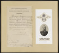 "Autographs:Non-American, Russian Czar Alexander II Document Signed, ""Alexander"", onepage, 8.5: x 13.25"", ca. 1867. Partially printed document en..."